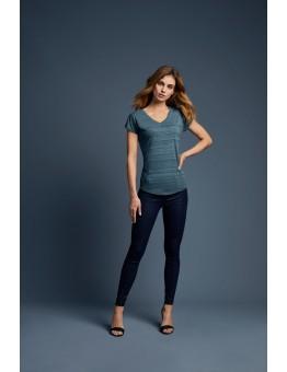 T-shirt V-hals met streep