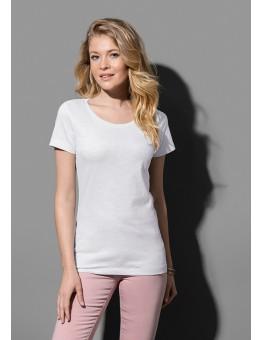 T-shirt ronde lage hals in slub garen.