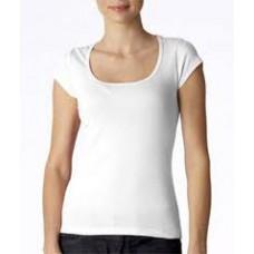 Basic shirt met diepe brede hals