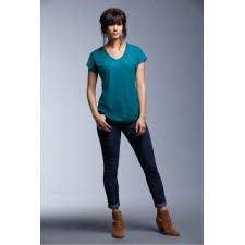 Top t-shirt afgeronde onderzijde V-hals trendy kleuren