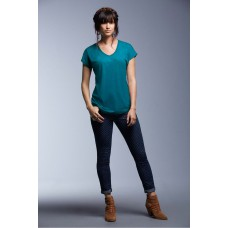 Top-t-shirt-afgerond-boord-V-hals-trendy-kleuren