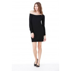 Off the shoulder sweater dress restant maat s zwart