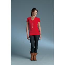 Langere-lengte-top-t-shirt-korte mouw-V-hals