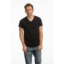 T-shirt langere lengte dubbele V-hals stretch