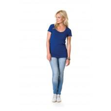 T-shirt top langere lengte lage ronde hals