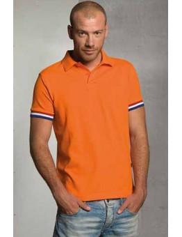 Oranje polo vlagsymbool mouw extra grote maten