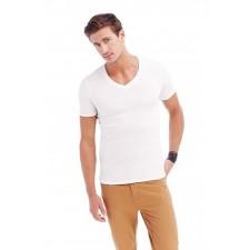 T-shirt diepe V-hals katoen elasthan single jersey