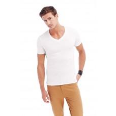 T-shirt diepe V-hals katoen elasthan