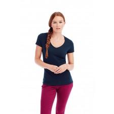 T-shirt top diepe brede V-Hals kort recht mouwtje