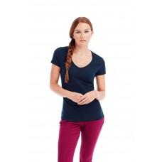 T-shirt-top-brede-V-Hals-recht-mouwtje