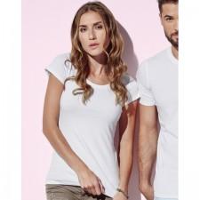 T-shirt top wijde ronde hals getailleerd model