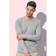 Basic t-shirt longsleeve ronde hals stretch
