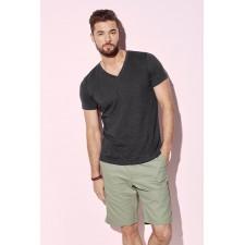 T-shirt basic V-hals katoen polyester heather kleuren