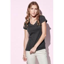 T-shirt top V- hals basic melange kleuren