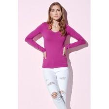 Top t-shirt lage brede v-hals longsleeve 4 kleuren