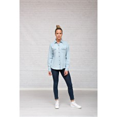 Denim spijkerblouse enzyme stone bleach washed