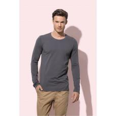 Basic t-shirt longsleeve ronde hals stretch